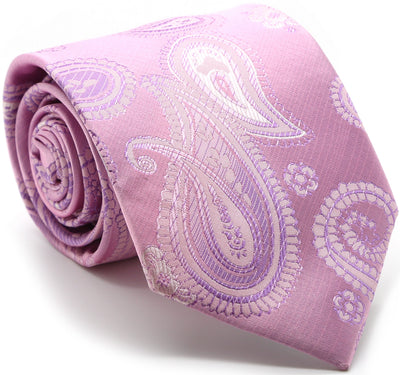 Mens Dads Classic Pink Paisley Pattern Business Casual Necktie & Hanky Set HO-7 - Ferrecci USA