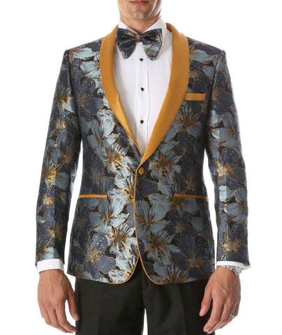 Men's Blue Hugo Floral Modern Fit Shawl Collar Tuxedo Blazer