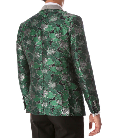 Men's Hugo Green Floral Modern Fit Shawl Collar Tuxedo Blazer