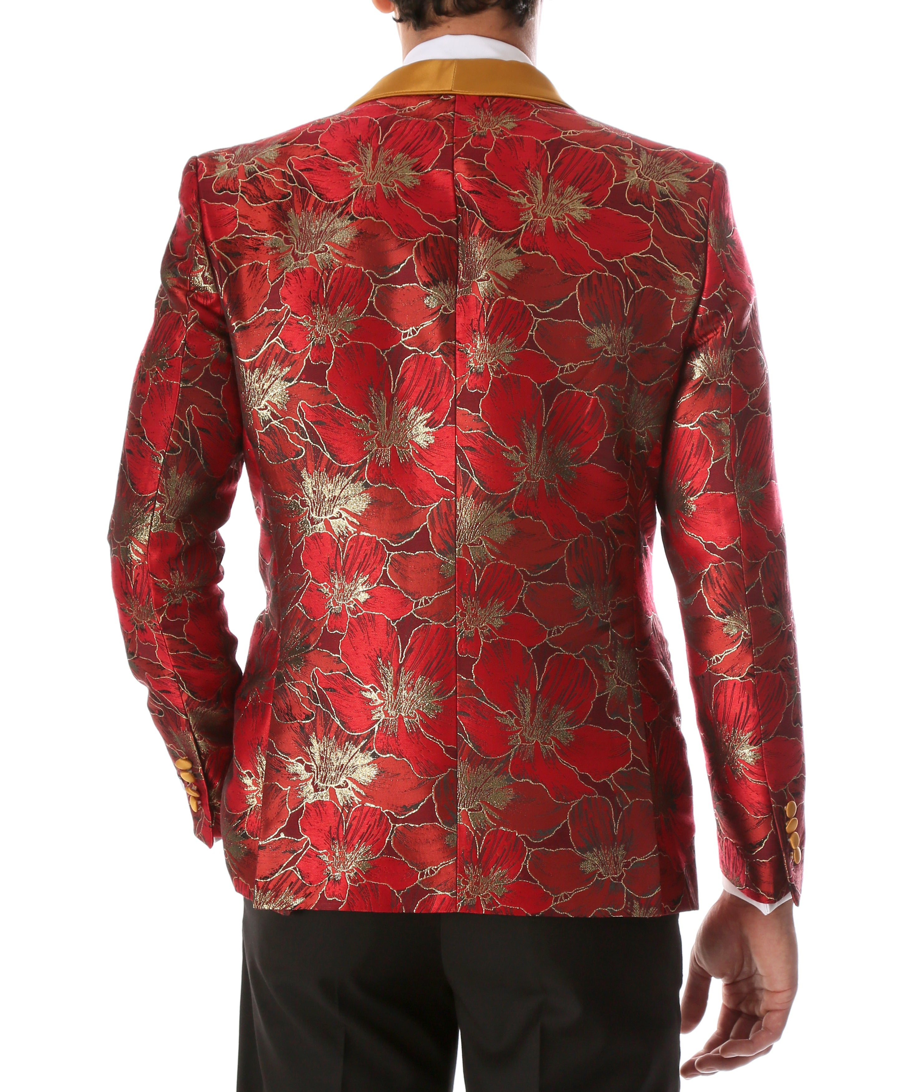 Men's Hugo Red Floral Modern Fit Shawl Collar Tuxedo Blazer