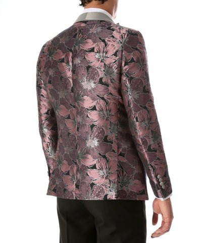 Men's Hugo Rose Floral Modern Fit Shawl Collar Tuxedo Blazer