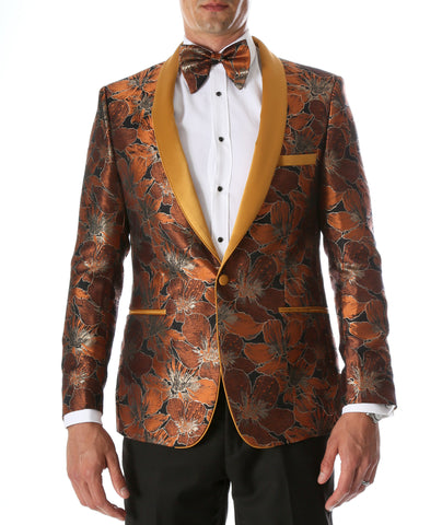 Men's Hugo Rust Floral Modern Fit Shawl Collar Tuxedo Blazer