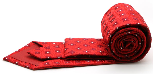 Mens Dads Classic Red Geometric Pattern Business Casual Necktie & Hanky Set I-3 - Ferrecci USA