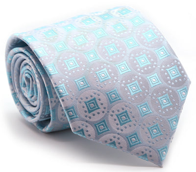 Mens Dads Classic Turquoise Geometric Pattern Business Casual Necktie & Hanky Set I-8 - Ferrecci USA