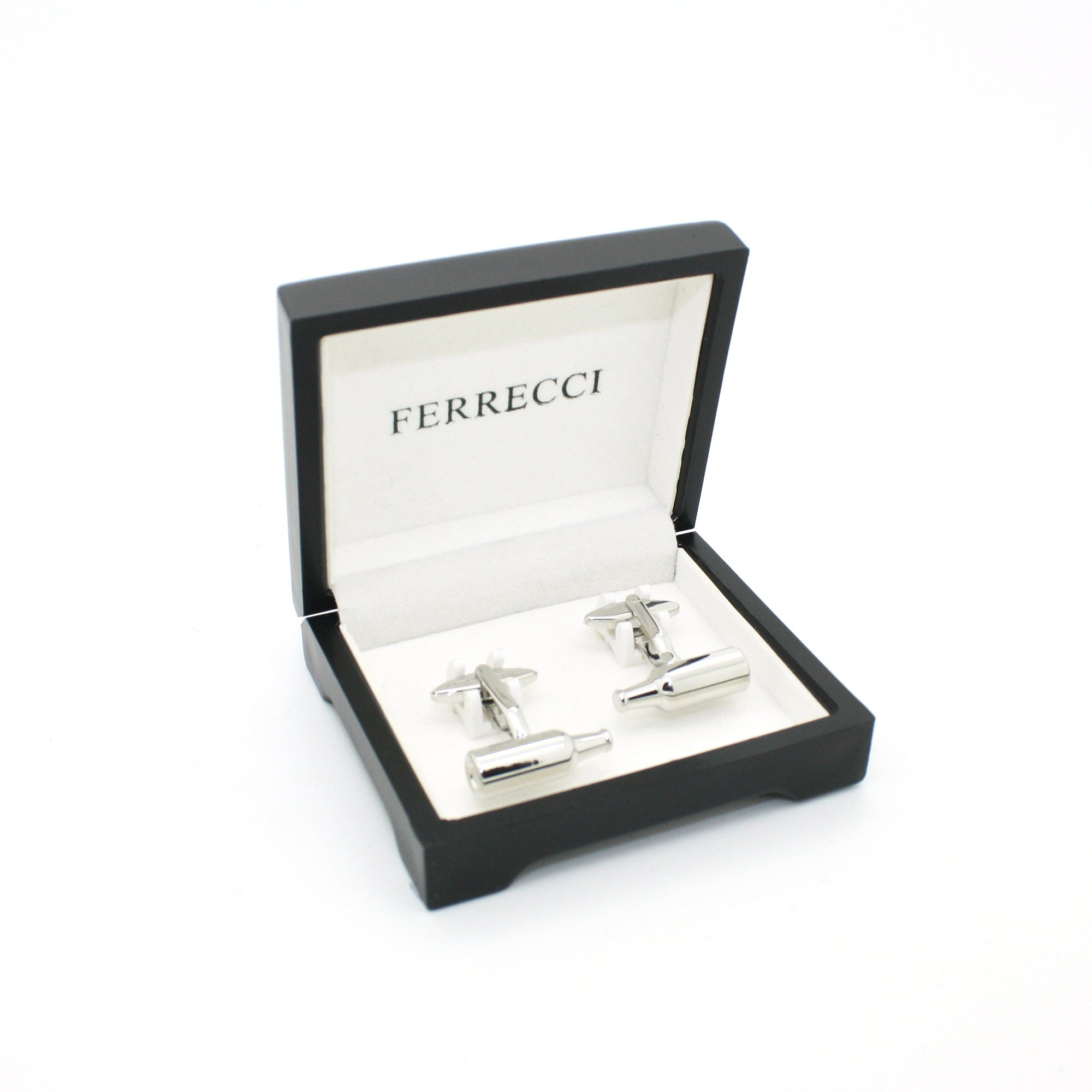 Silvertone Bottle Cuff Links With Jewelry Box