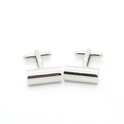 Silvertone Brass Cylinder Cuff Links With Jewelry Box - Ferrecci USA