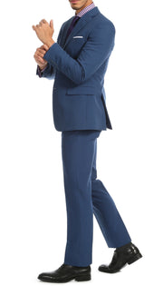 Paul Lorenzo Mens Indigo Slim Fit 2 Piece Suit - Ferrecci USA