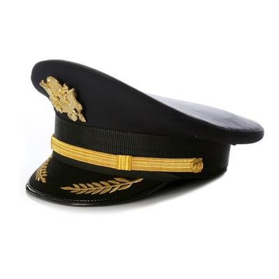 Black Military Cadet Captain Sailor Hat - Ferrecci USA