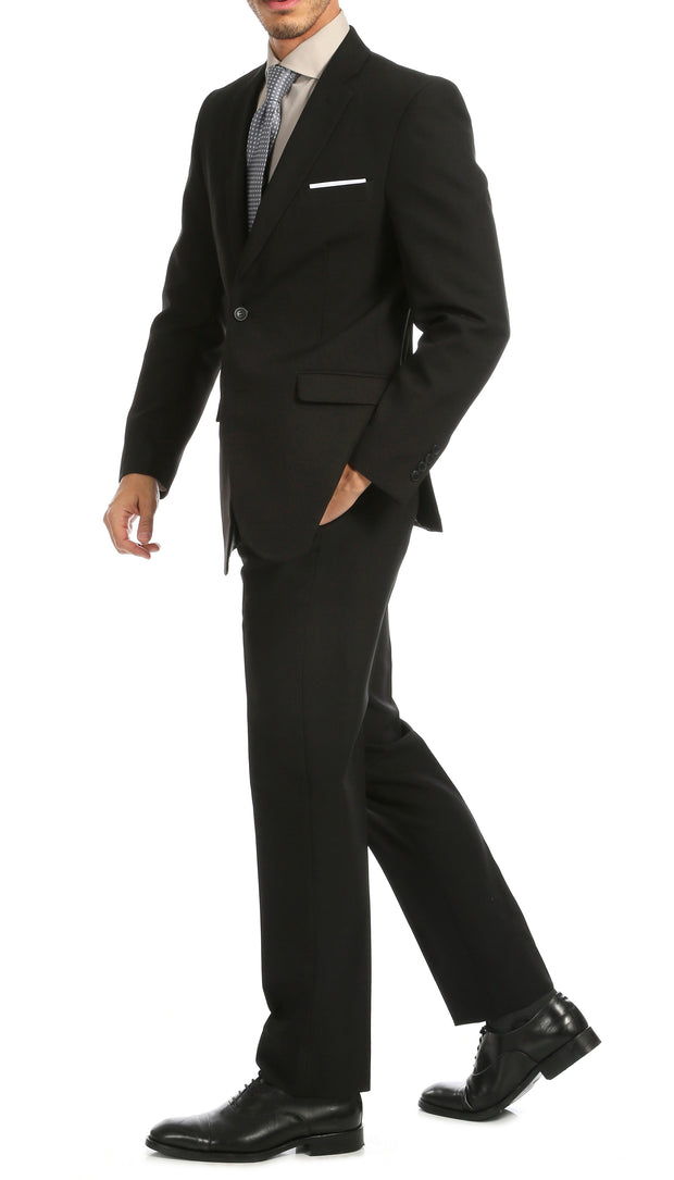PL1969 Mens Black Slim Fit 2pc Suit - Ferrecci USA