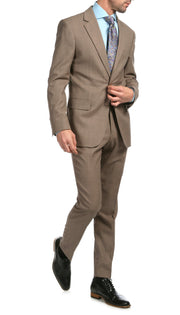 Mason Sand Men's Premium 2 Piece Wool Slim Fit Suit - Ferrecci USA