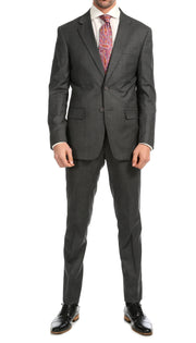 Mason Heather Grey Men's Premium 2 Piece Wool Slim Fit Suit - Ferrecci USA