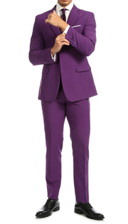 Paul Lorenzo Mens Purple Slim Fit 2 Piece Suit - Ferrecci USA