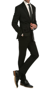 Mason Black Men's Premium 2 Piece Wool Slim Fit Suit - Ferrecci USA
