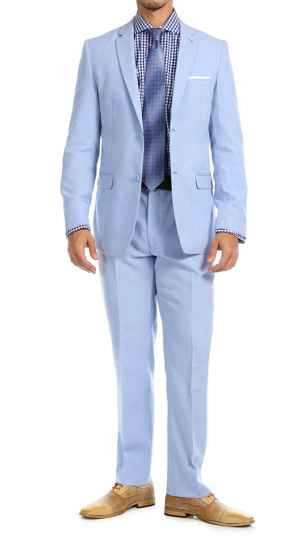 Paul Lorenzo Men's Sky Blue 2 Button Notch Lapel Slim Fit 2 Piece Suit - Ferrecci USA