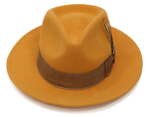 Premium Wool Orange & Brown Fedora Hat