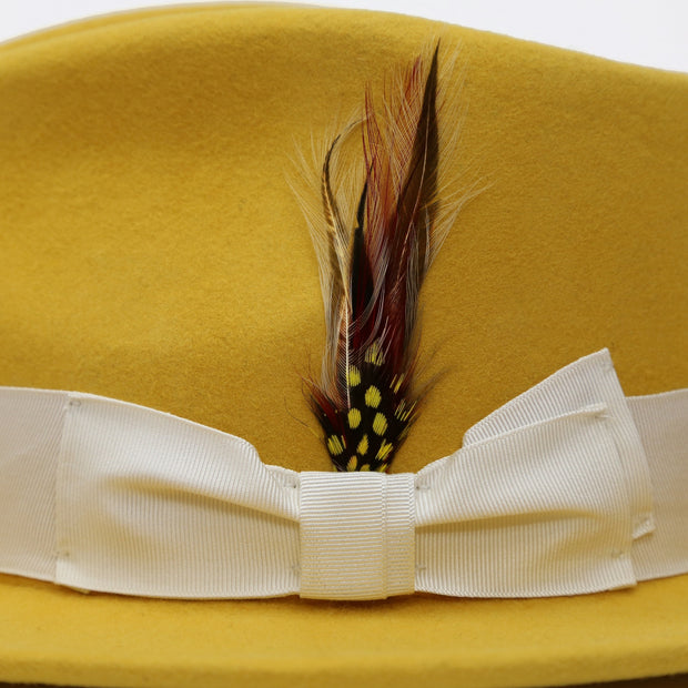 Yellow w White Band Premium Fedora Hat