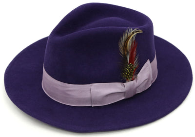Premium Wool Purple & Lavender Fedora Hat