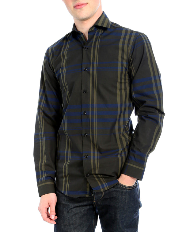 Olive Striped Slim Fit Casual Shirt - Jasper - Ferrecci USA