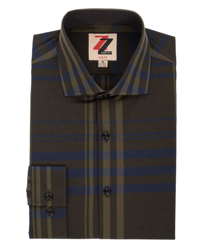 Olive Striped Slim Fit Casual Shirt - Jasper