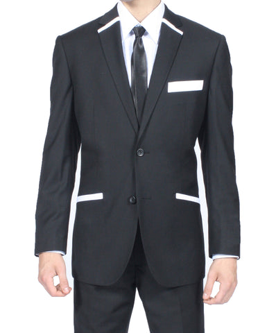 The JerseyBoy Black White Slim Fit Mens Blazer