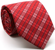 Mens Dads Classic Red Striped Pattern Business Casual Necktie & Hanky Set JO-10 - Ferrecci USA