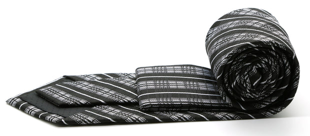 Mens Dads Classic Black Striped Pattern Business Casual Necktie & Hanky Set JO-12 - Ferrecci USA