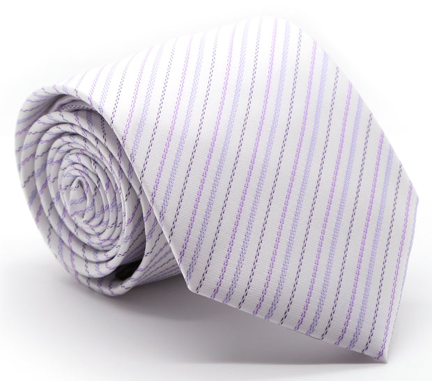 Mens Dads Classic Purple Striped Pattern Business Casual Necktie & Hanky Set JO-6 - Ferrecci USA