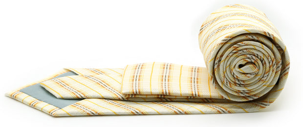Mens Dads Classic Yellow Striped Pattern Business Casual Necktie & Hanky Set JO-8 - Ferrecci USA