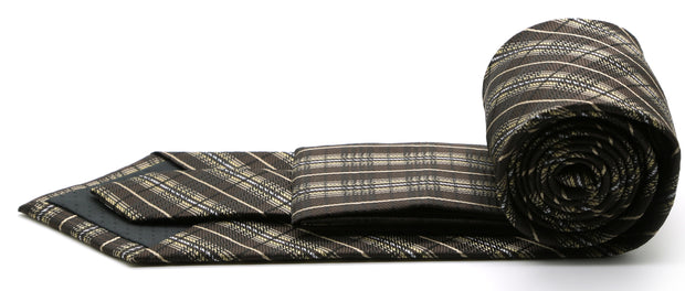 Mens Dads Classic Brown Striped Pattern Business Casual Necktie & Hanky Set JO-9 - Ferrecci USA