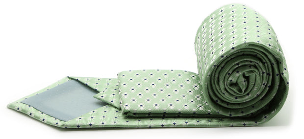 Mens Dads Classic Green Geometric Pattern Business Casual Necktie & Hanky Set K-2 - Ferrecci USA