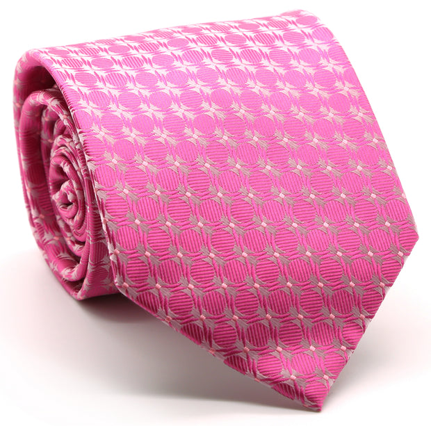 Mens Dads Classic Fuchsia Geometric Pattern Business Casual Necktie & Hanky Set K-4 - Ferrecci USA