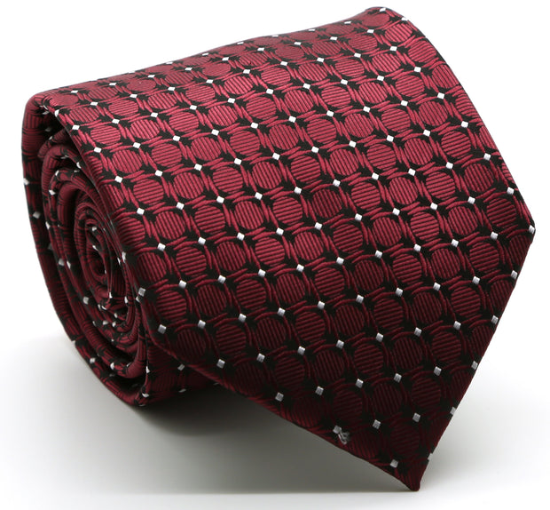 Mens Dads Classic Red Geometric Pattern Business Casual Necktie & Hanky Set K-6 - Ferrecci USA