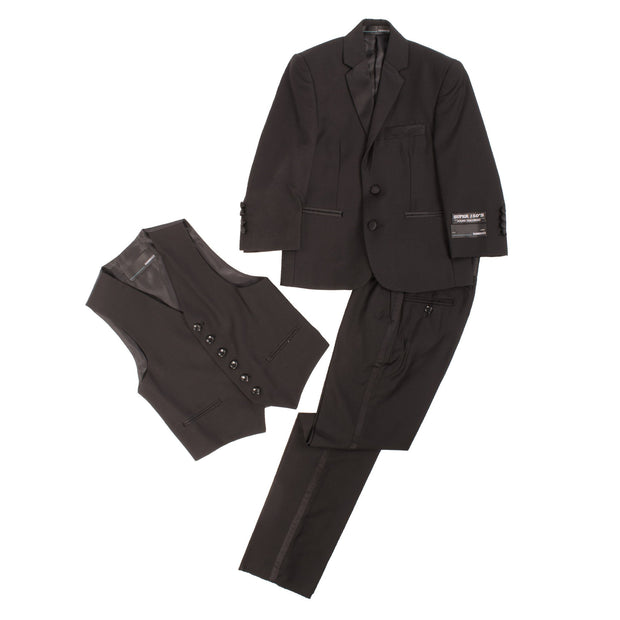 Boys Black KTUX 3 Piece Premium Tuxedo Suit - Ferrecci USA