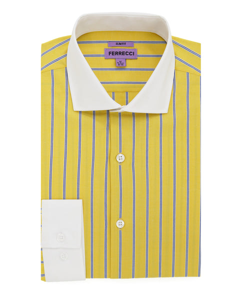 The Kingsley Striped Yellow Slim Fit Cotton Dress Shirt