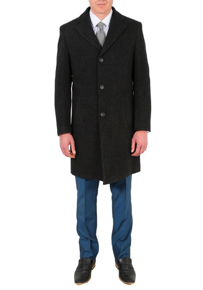 Klein Men's Wool Charcoal Top Coat - Ferrecci USA