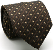 Mens Dads Classic Brown Geometric Pattern Business Casual Necktie & Hanky Set KO-9 - Ferrecci USA