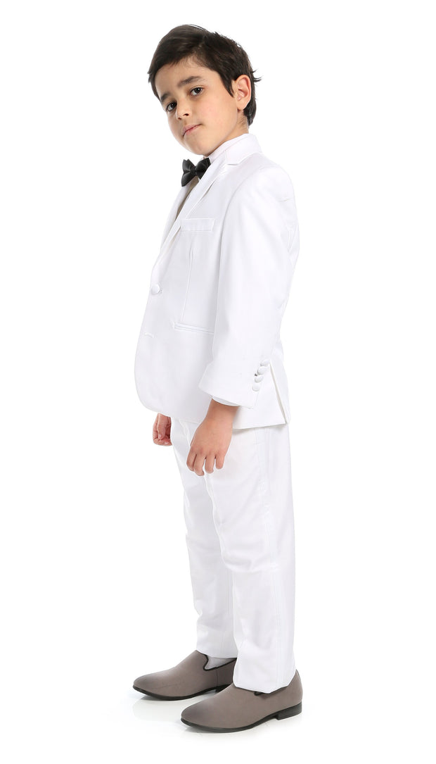 Boys KTUX Modern Fit Notch Lapel 3 Piece White Tuxedo Set - Ferrecci USA