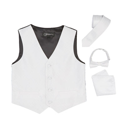 Premium Boys White Diamond Vest 300 Set - Ferrecci USA