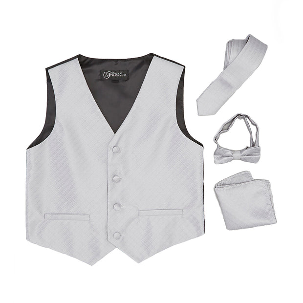 Premium Boys Silver Diamond Vest 300 Set - Ferrecci USA