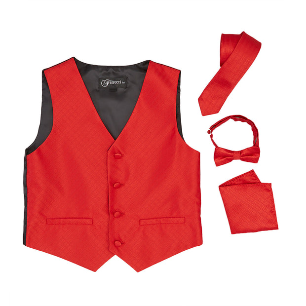 Premium Boys Red Diamond Vest 300 Set - Ferrecci USA