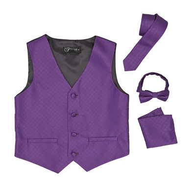 Premium Boys Purple Diamond Vest 300 Set - Ferrecci USA