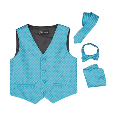 Premium Boys Turquoise Diamond Vest 300 Set - Ferrecci USA