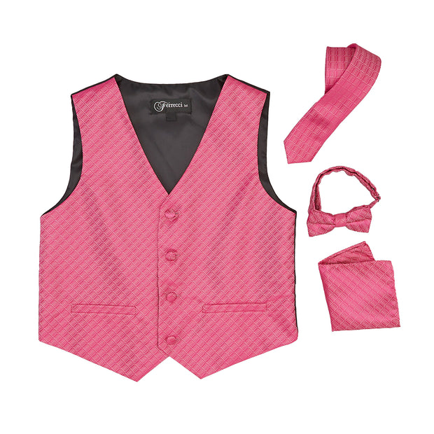 Premium Boys Fuchsia Diamond Vest 300 Set - Ferrecci USA