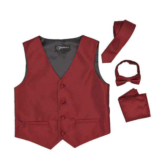 Premium Boys Burgundy Red Diamond Vest 300 Set - Ferrecci USA