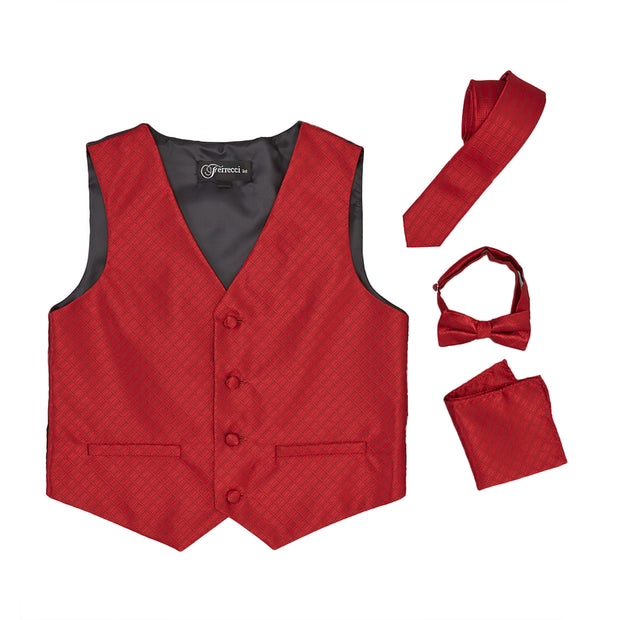 Premium Boys Wine Diamond Vest 300 Set - Ferrecci USA