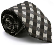 Mens Dads Classic Brown Stripe Pattern Business Casual Necktie & Hanky Set L-4 - Ferrecci USA