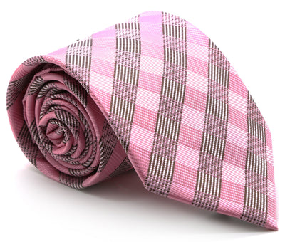 Mens Dads Classic Pink Stripe Pattern Business Casual Necktie & Hanky Set L-5 - Ferrecci USA