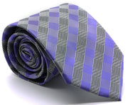 Mens Dads Classic Purple Stripe Pattern Business Casual Necktie & Hanky Set L-7 - Ferrecci USA