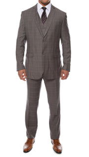 The Zonettie Lazio Charcoal 3pc vested slim fit plaid suit