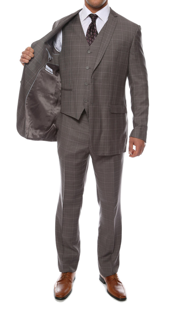 Lazio Charcoal Plaid Design Notch Lapel Slim Fit Suit With Adjustable Vest - Ferrecci USA